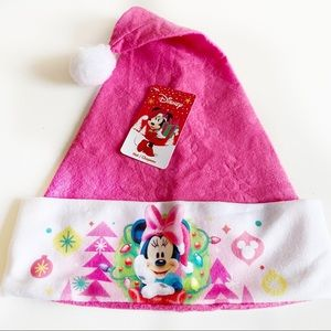 Disney Girls Pink Minnie Mouse Christmas Santa Hat